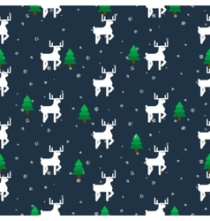 White deer in a forest seamless pattern vector