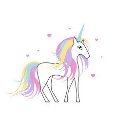 white unicorn with rainbow hair for bagirl vector image