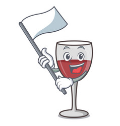 With flag wine mascot cartoon style vector