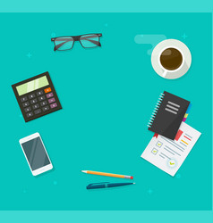 Workplace desk table top view for copy space vector