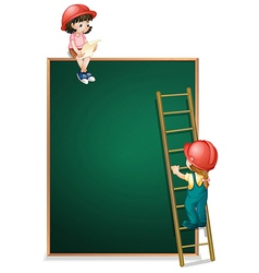 A girl sitting above the empty board and a girl vector image