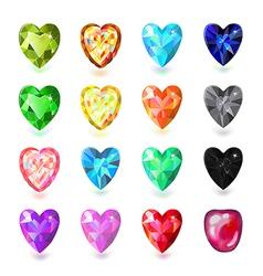 Colored heart cut gems vector