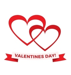 hearts icons and valentines day greeting vector image