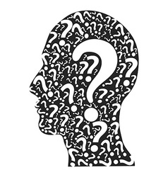 human head filled with question marks vector image vector image