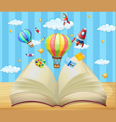 Balloons and rockets flying out of book vector