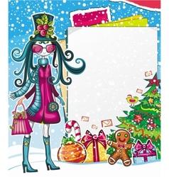 christmas fashion girl vector image vector image