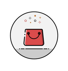flat line bag icon vector image vector image