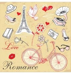 Paris Romance Set vector image