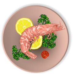 shrimp on a plate served with vegetables vector image vector image