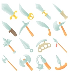 Steel arms items icons set cartoon style vector image vector image