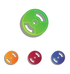 CD or DVD sign Colorfull applique icons vector image