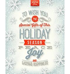 Christmas holidays type design vector image