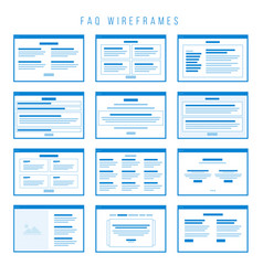 faq wireframe components for building prototypes vector image