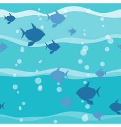 Fish in wave seamless pattern vector image