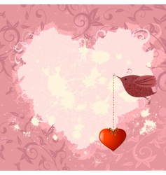 floral valentine with a bird vector image vector image