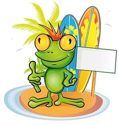 frog cartoon surfer on island background vector image