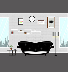 living room wall brick white vector image