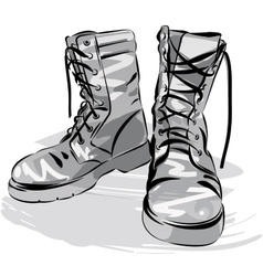 Military leather worn boots vector image