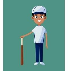 player boy baseball uniform bat and ball green vector image vector image