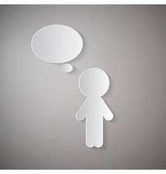 Cut Paper Man With Empty Speech Bubble on Grey vector image
