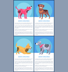 Merry christmas posters set with playful dogs vector