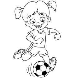 outlined soccer girl vector image vector image