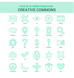 25 green creative commons icon set vector