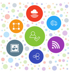 7 network icons vector image
