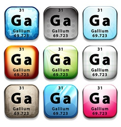 A button showing the chemical element Gallium vector image