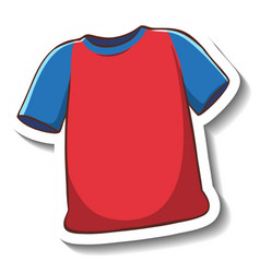 A sticker template with red t-shirt isolated vector