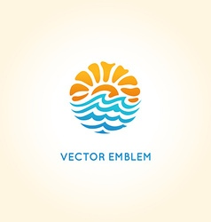 abstract logo design template - sun and sea vector image