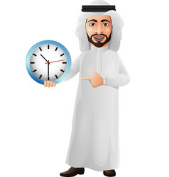 arab businessman holding and pointing a wall clock vector image
