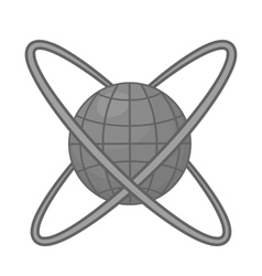 Around planet icon black monochrome style vector image vector image