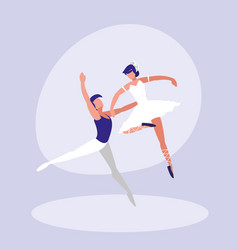 ballet dancers couple isolated icon vector image