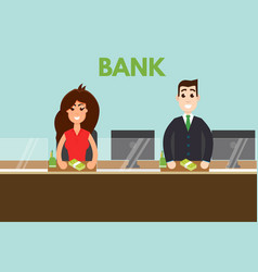 Bank teller or cashier behind window vector