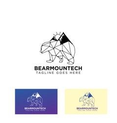 Bear mountain connecting logo design icon vector