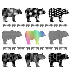 Bear silhouette mosaic set vector image
