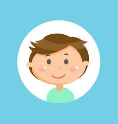 Boy portrait child or schoolboy with round head vector