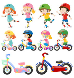 boys and girls on bike vector image