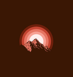 brown silhouette mountain vector image
