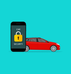 Car security lock security on vehicle guard vector