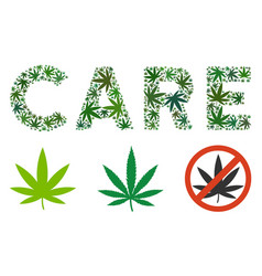 Care label collage of weed leaves vector