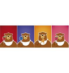 cartoon funny bear eating blueberry honey vector image