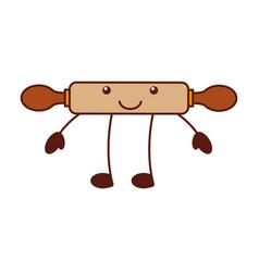 cartoon rolling pin wooden utensil kitchen vector image