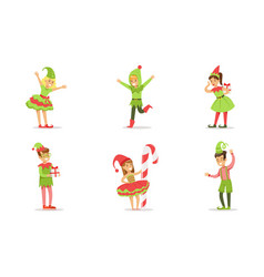 children dressed as christmas elves set boys and vector image