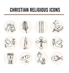 christianity traditional religious symbols vector image