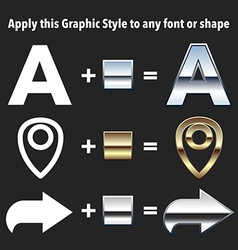 Chrome and gold graphic styles vector image