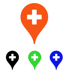 Clinic map pointer flat icon vector