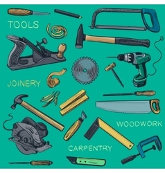 Collection of hand drawn carpentry woodworker vector