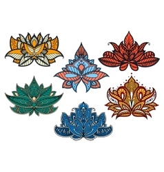 Colorful paisley flowers with indian motifs vector image